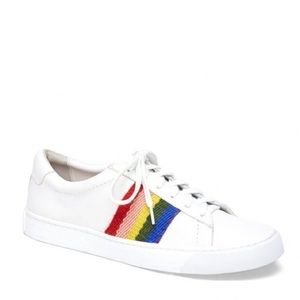 Brand New Leather Hand Woven Rainbow Sneakers